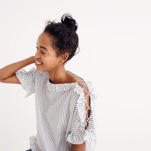 "Madewell Top ""Ruffled Lace Up in Stripe"" Shirt Med"